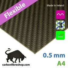 FLEXIBLE Real Carbon Fibre Sheet 0.5 mm A4 (210 x 297 mm)