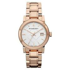100% NEW AUTHENTIC BURBERRY ROSE GOLD TONE THE CITY WOMANS WATCH BU9104