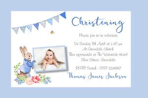 Peter Rabbit Personalised Christening Naming Thank You Invitations Prints