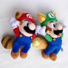 "2X Super Mario Bros Plush Raccoon Mario Kitsune Fox Luigi Toy Stuffed Animal 8"""