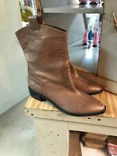 Vero Cuoio Made In Italy Size 40 Rose Gold Snakeskin Boots New