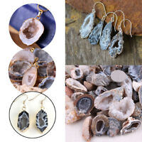 Natural Geodes Agate Crystals Quartz Pendant For Necklaces Earing DIY Making