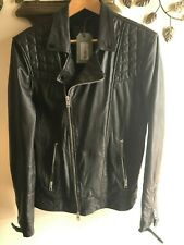 NEW AllSaints All Saints Kushiro Black Moto Biker Leather Coat Jacket Size M