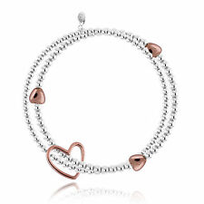 Joma Jewellery Lila silver beads double bracelet, rose gold hearts & gift bag