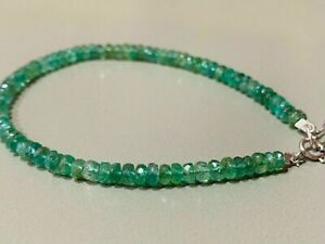 100% Natural Precious Zambian Emerald Faceted Beaded Bracelet 925 Silver Clasp.