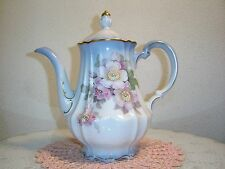 Imperial Germany Porcelain Coffee Pot Blue Trim W/Pink Wild Rose Blossoms