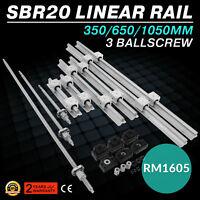 SBR20-300/600/1000 Linear Rail+3 Ballscrew RM1605-350/650/1050+BK/BF 12+Coupler