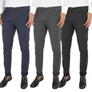 Pantalone Uomo Invernale Chino Jeans Elasticizzato Slim Casual Elegante VEQUE