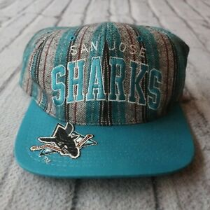 Vintage 90s San Jose Sharks Pinstripe Snapback Hat by Starter Cap Rare