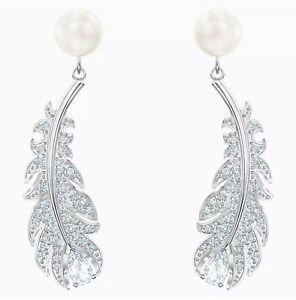 SWAROVSKI 5496052 Nice Pierced Earrings, White, Rhodium plated, Crystal Pearl
