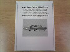 1967 Dodge Polara/Monaco factory cost/dealer sticker prices for car & options $