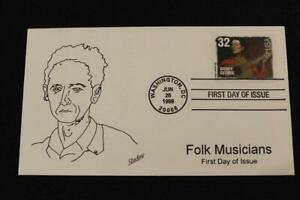 1ST DAY ISSUE 1998 FOLK MUSICIANS WOODY GUTHRIE FDC BY SHADOW (2183)