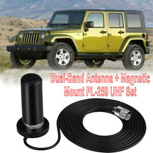 Dual-Band Antenna + Magnetic NMO Mount PL-259 VHF/UHF Set For Car Mobile Radio