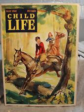 old CHILD LIFE Magazine May 1942 boy girl horses horseback riding prairie dog