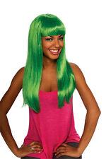 Womens Long Green Wig Mermaid Hair Costume Aqua Bangs Nicki Minaj Parody Adults