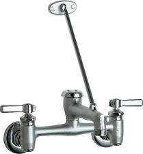CHICAGO FAUCETS 897-RCF Wall Mount Service Sink Faucet w/ Wall Brace, Rough Chr.