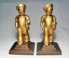 Sailor Boy With Toy Boat Antique Grey Metal Bookends by Frankart ~1930/Nice!