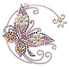 Rhinestone Transfer Hot fix T-Shirt clothing crafts cushion Butterfly flower