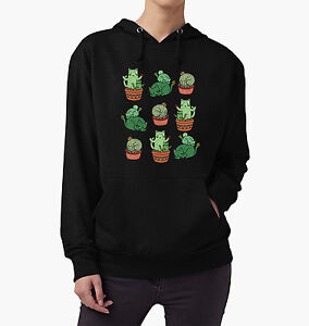 CACTUS CAT HOODIE HOODED JUMPER SWEATER FUNNY SLOGAN CUTE MEOW PLANT PUN