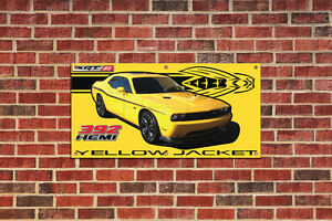 Dodge Challenger Yellow Jacket Garage Shop Banner Tribute 3 with Car