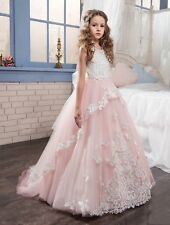 Pink Sleevele Flower Girl Dress for Wedding With Butterfly Puffy Pageant Dresses