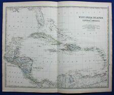 Large antique map CARIBBEAN, CENTRAL AMERICA, CUBA, JAMAICA, Johnston 1886