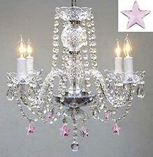 "Empress Crystal (TM) Chandelier Lighting w/ Pink Crystal Stars! H17"" W17"""