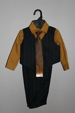 Andrew Fezza Infant Size 12M Black Brown Vest Suit w/ Shirt & Tie