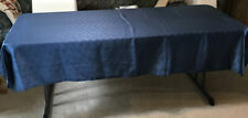 Satin Rectangular Tablecloth 84 by 58-Inch, Royal Blue Damask Snowflakes