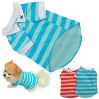 Fashion Dog Puppy T Shirt Clothes Lapel Stripe Cotton Pet Clothes SIZE: XS,S,M,L