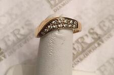 18k yellow & white gold 13 Diamond Curved Wavy Twist Ring .11 tw IJ-SI1-I1 sz 6