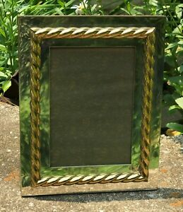 Gucci Made in Italy Picture Photo Frame Silver with Brass or Gold Rope Braid