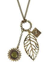 Kette gold 3 Anhänger am Ring Blatt Blume Buch by Ella Jonte lange Halskette neu