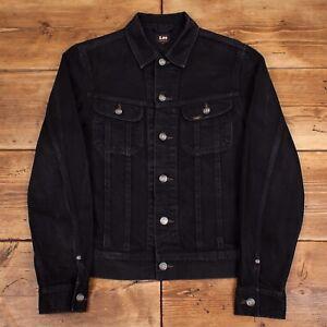 Mens Vintage Lee Rider Black Denim Western Slim Trucker Jacket Medium R22988