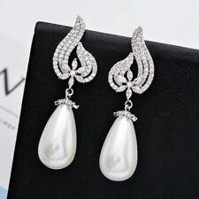 Bridal White Pearl Bridal Earrings Pearl Vintage Silver Clear Earrings