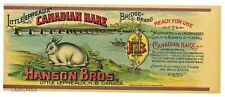 BRIDGE Brand, Canadian Hare, Lepreaux, *AN ORIGINAL 1890's TIN CAN LABEL* C33