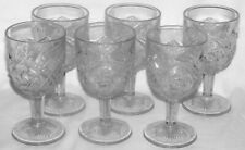 "6 Indiana Glass Juno Double Pinwheel Water Goblets 6"" EAPG Circa 1905"