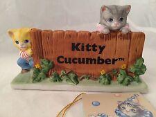 Kitty Cucumber Dealer Sign Store Display Schmid Signature! Porcelain 1987 vtg r2