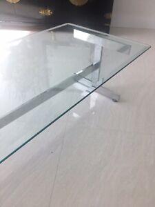 PAUL MAYEN coffee table HABITAT ARCHITECTURAL Polished Aluminum & Glass STUNNING