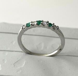 Natural Emerald & Diamond Stacking Ring in 14k Solid White Gold Sz 6