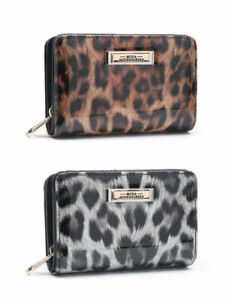 Ladies Black RFID Coin Patent Leopard Purse Girls Animal Print Wallet Clutch Bag