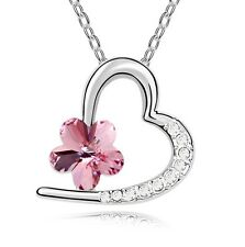 18K Gold GP Made With Swarovski Crystal Elements Gold Pink Heart Flower necklace
