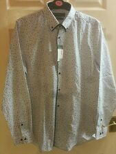 Mens white floral Long Sleeve  Shirt BNWT slim fit Size L Collar 16.5