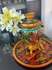 Vintage Tula Russian Hand Painted Khokhloma Samovar Electric Tea Kettle and tray