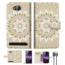 White AZTEC TRIBAL Wallet TPU Case Cover For HUAWEI Y3 II 2 -- A006