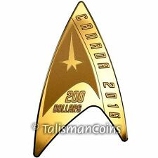 Canada 2016 Star Trek 50th Starfleet Delta Shield Insignia $200 Pure Gold Proof