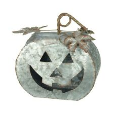 HALLOWEEN LARGE METAL CARVED DECORATIVE PUMPKIN LANTERN CANDLE TEALIGHT HOLDER