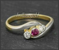 Antiker Jugendstil Diamant & Rubin Ring, 750 Gold & Platin, Handarbeit um 1900