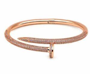 "Estate 3.20 Ct Round Brilliant Cut 18K Rose Gold Over Nail Bangle 7.5"" Bracelet"