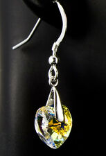 Crystal AB Heart Earrings made with Swarovski Crystal Elements Sterling Love iDu